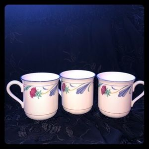 3 LENOX Poppies on blue chinastone coffee cups